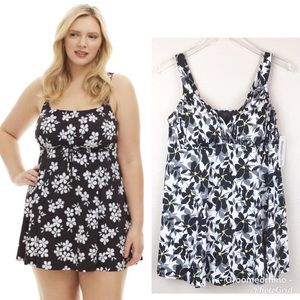 NWT Always For Me Black & White Floral Swim Dress